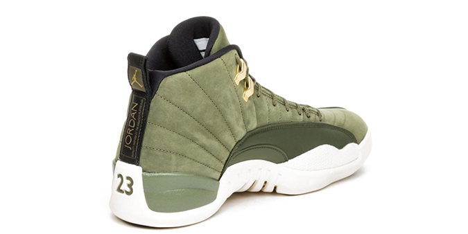 Brand Nike Jordan  Model AIR JORDAN 12 RETRO - CHRIS PAUL CLASS OF 2003   Color OLIVE CANVAS METALLIC GOLD BLACK SAIL  Code 130690 301 74c492bda